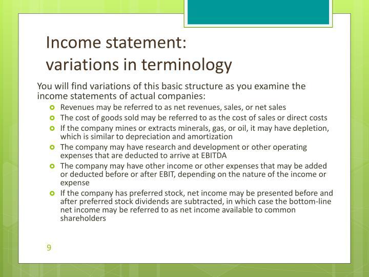 Income statement: