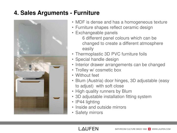 4. Sales Arguments - Furniture