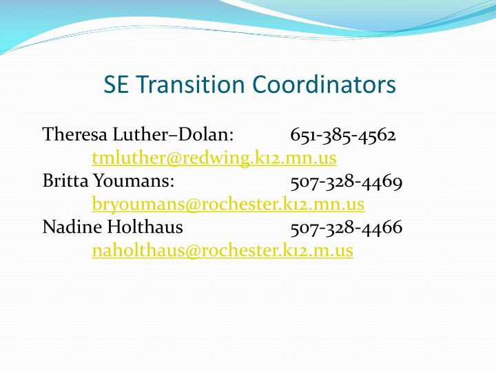 SE Transition Coordinators