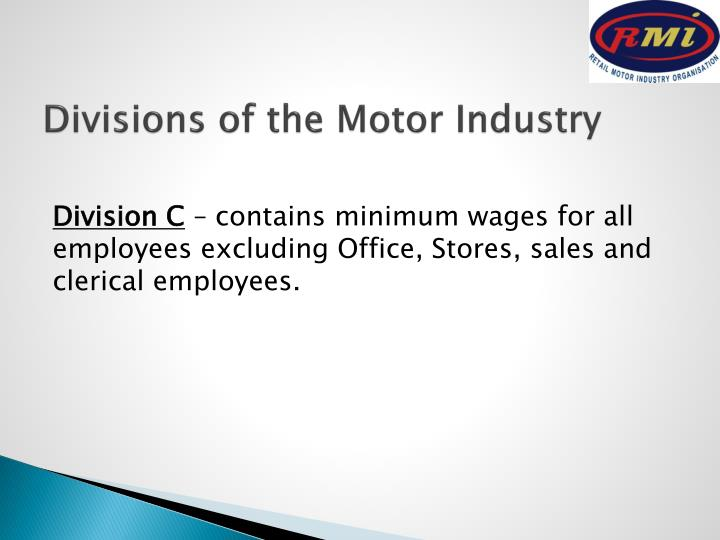 Divisions of the Motor Industry