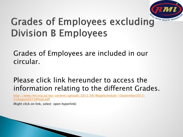 Grades of Employees excluding Division B Employees