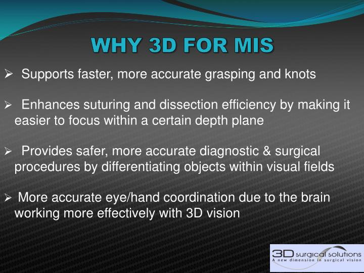 WHY 3D FOR MIS