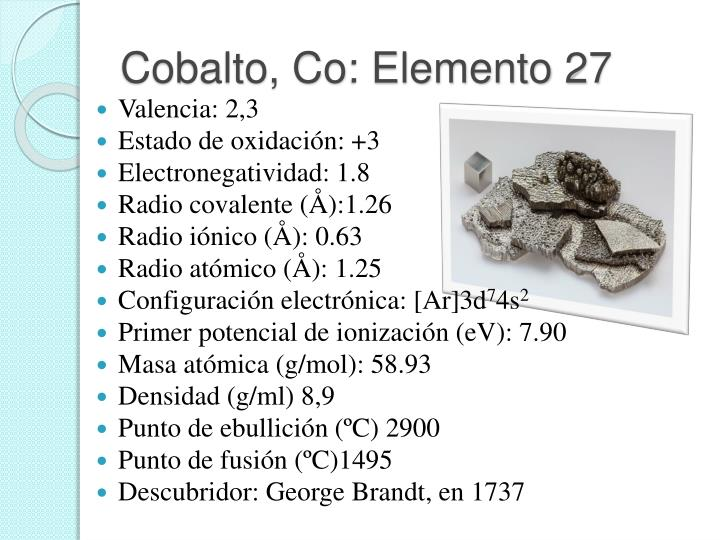 Cobalto, Co: Elemento 27