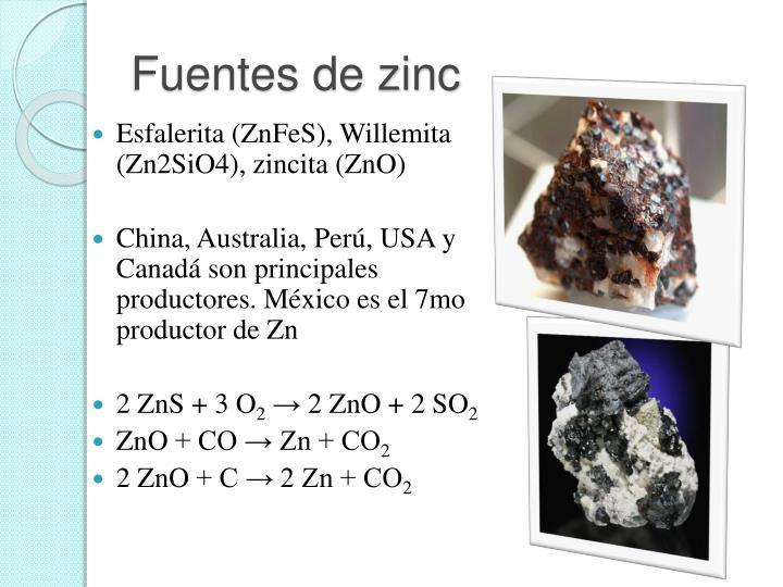 Fuentes de zinc