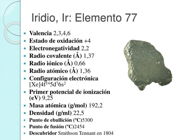 Iridio, Ir: Elemento 77