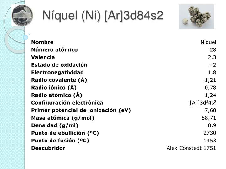Níquel (Ni) [Ar]3d84s2