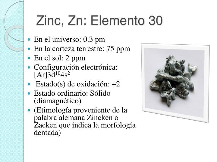 Zinc, Zn: Elemento 30