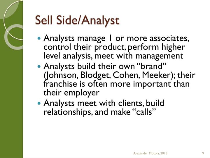 Sell Side/Analyst