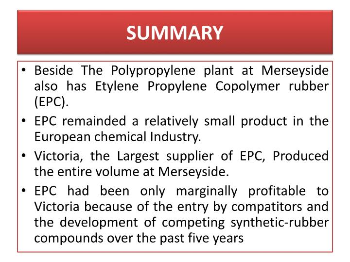 victoria chemicals plc the merseyside and Free essay: hese two cases to consider the investment decisions of managers of large chemical companies are made in january 2001 the a 'case, a go / no-go.