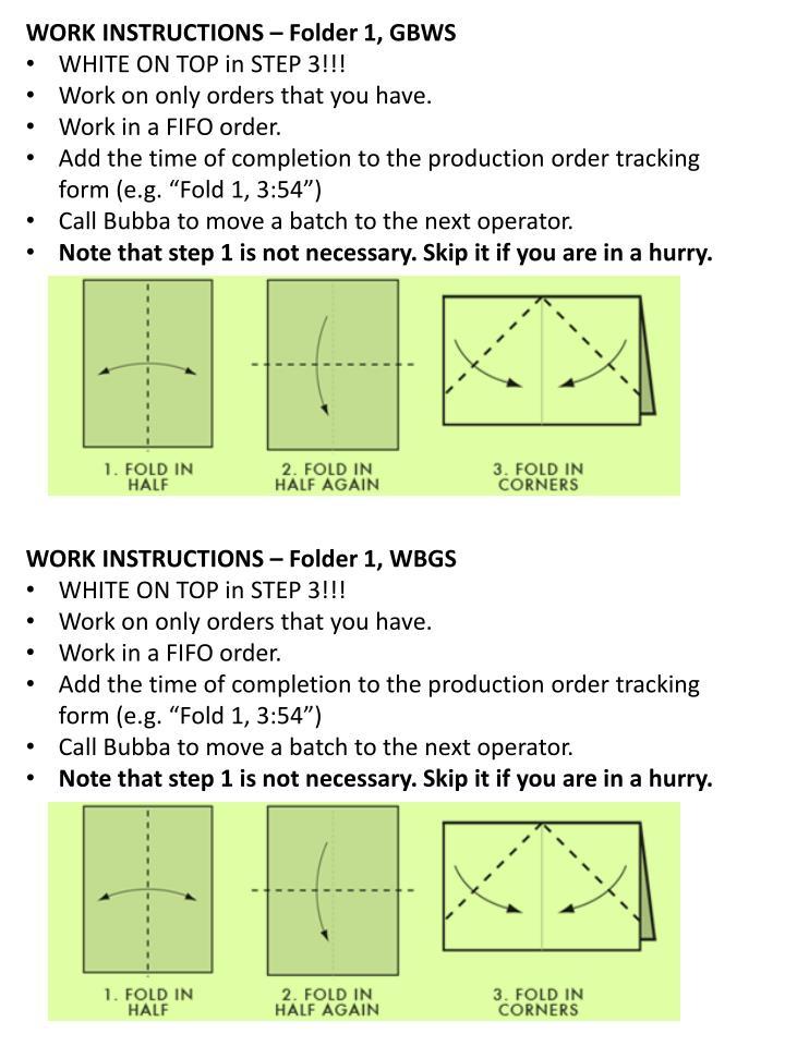 WORK INSTRUCTIONS – Folder 1, GBWS
