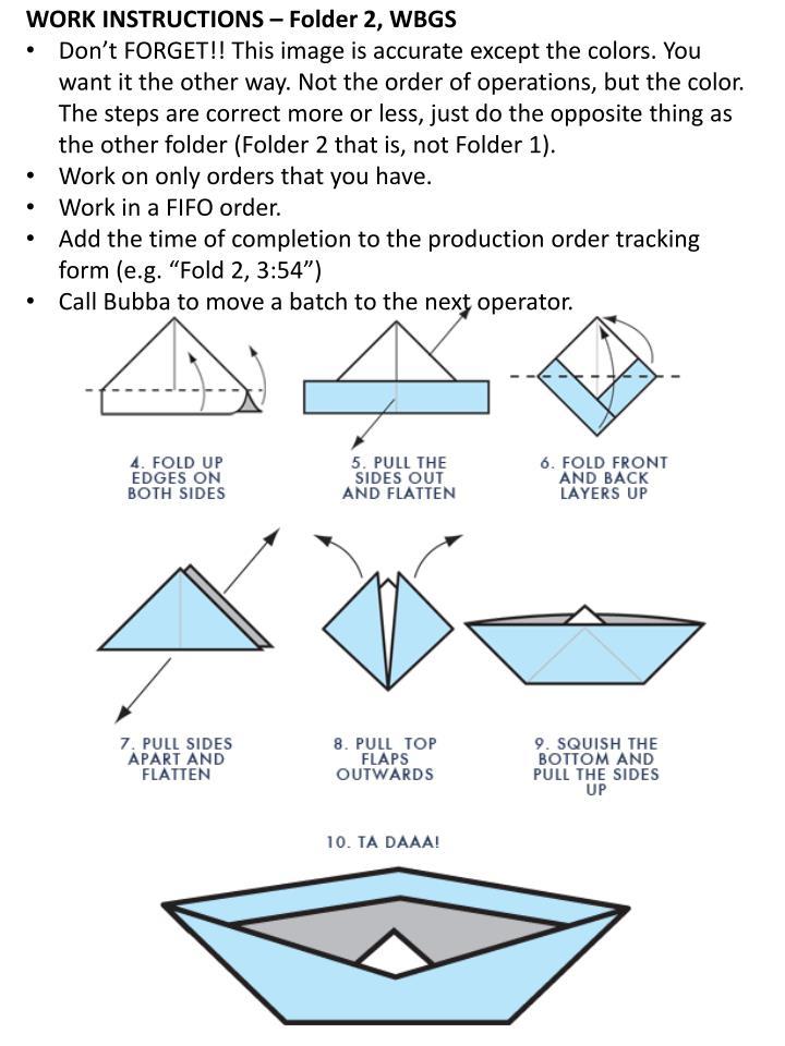 WORK INSTRUCTIONS – Folder 2, WBGS
