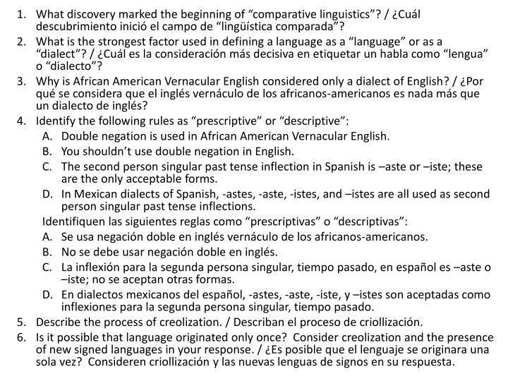 "What discovery marked the beginning of ""comparative linguistics"