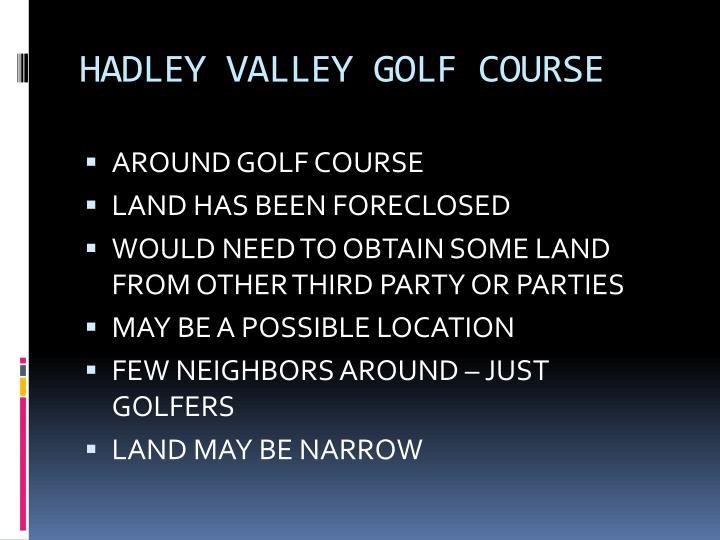 HADLEY VALLEY GOLF COURSE