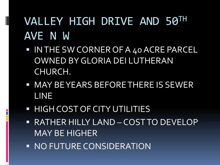 VALLEY HIGH DRIVE AND 50