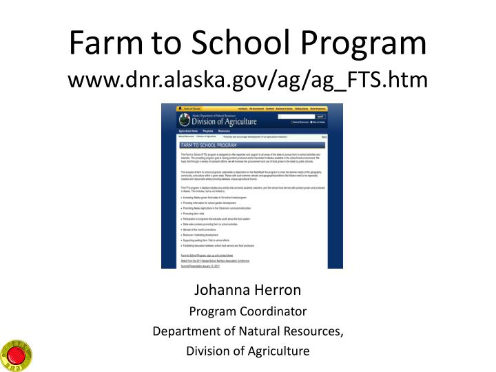 Farm to school program www dnr alaska gov ag ag fts htm