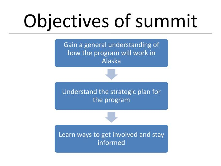Objectives of summit