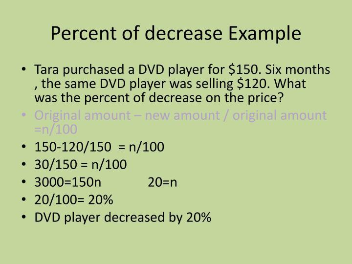 Percent of decrease Example