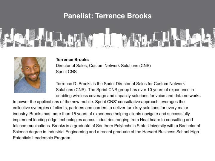 Panelist: Terrence Brooks