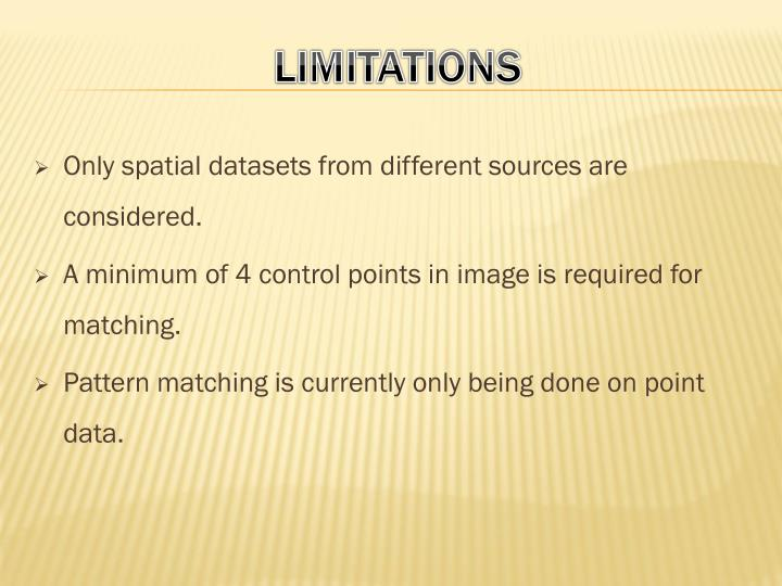 Only spatial datasets from different sources are considered.