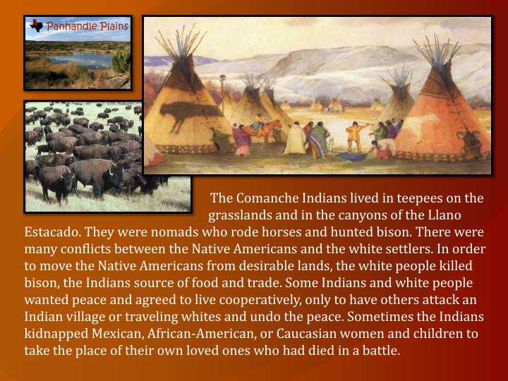 The Comanche Indians lived in teepees on the grasslands and in the canyons of the Llano Estacado. They were nomads who rode horses and hunted bison. There were many conflicts between the Native Americans and the white settlers. In order to move the Native Americans from desirable lands, the white people killed bison, the Indians source of food and trade. Some Indians and white people wanted peace and agreed to live cooperatively, only to have others attack an Indian village or traveling whites and undo the peace. Sometimes the Indians kidnapped Mexican, African-American, or Caucasian women and children to take the place of their own loved ones who had died in a battle.
