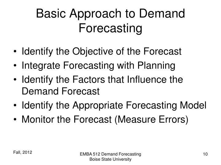 Basic Approach to Demand Forecasting