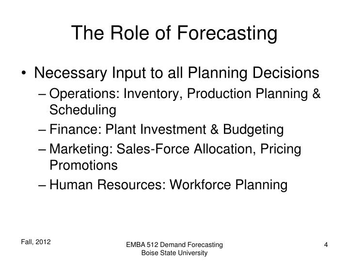 The Role of Forecasting