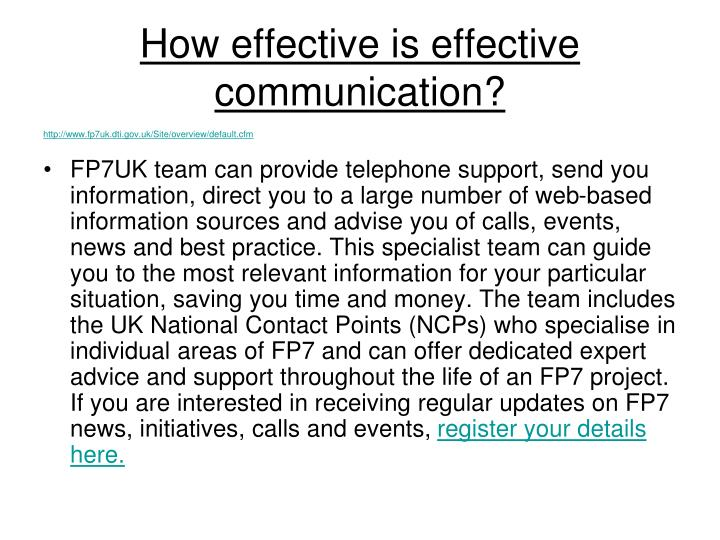 How effective is effective communication?