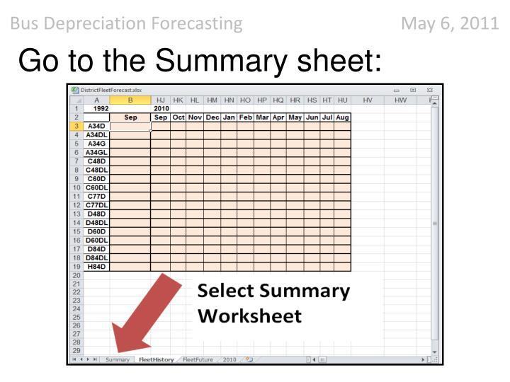 Go to the Summary sheet:
