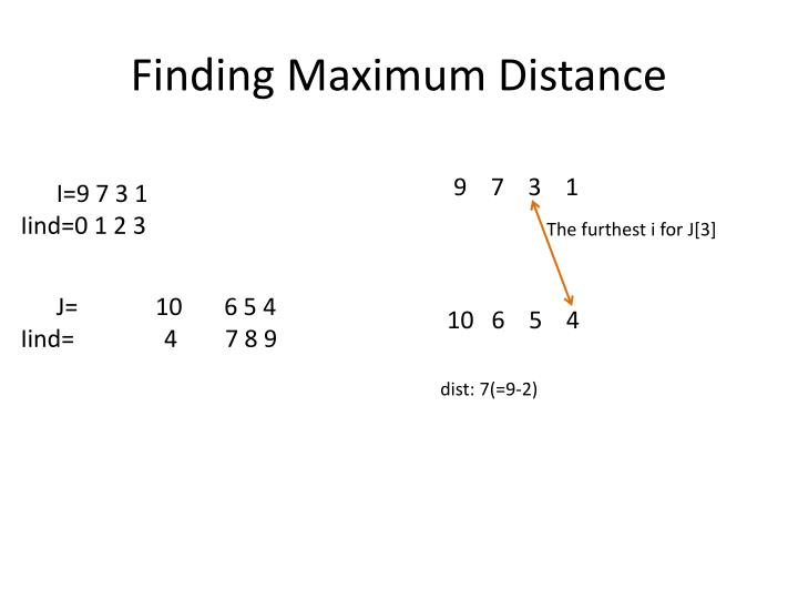 Finding Maximum Distance