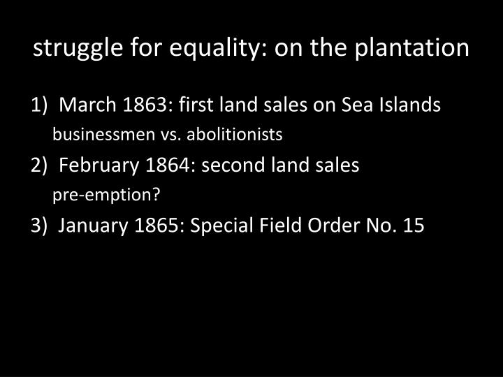 struggle for equality: on the plantation