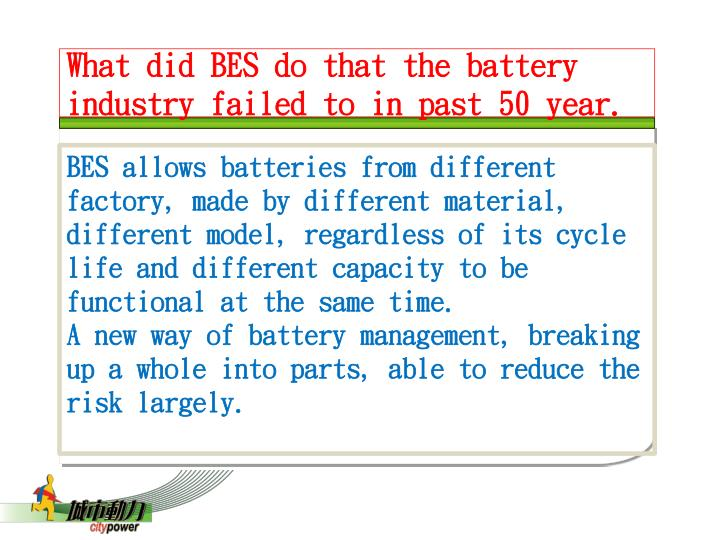 What did BES do that the battery industry failed to in past 50 year.