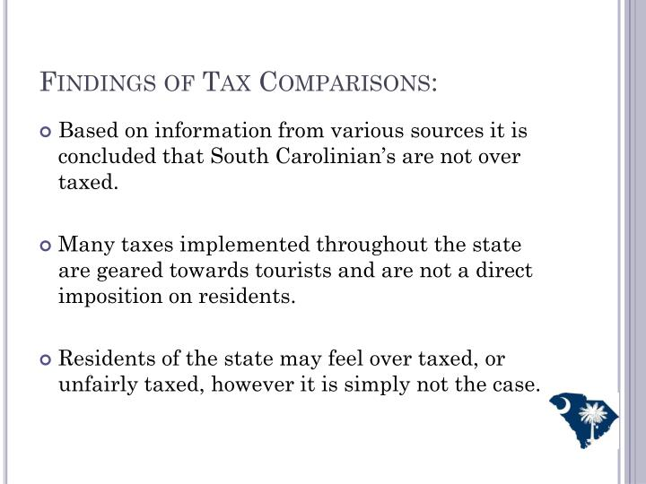 Findings of Tax Comparisons: