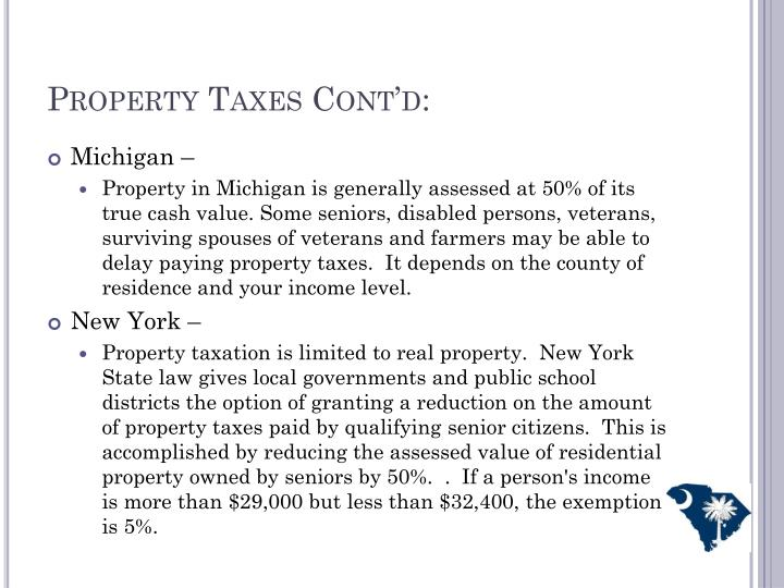 Property Taxes Cont'd:
