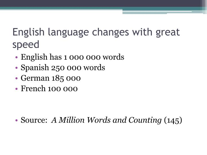 English language changes with great speed