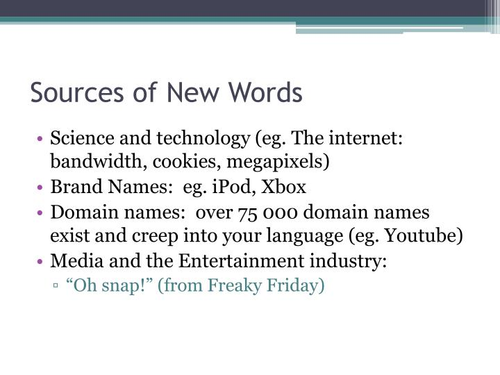 Sources of New Words
