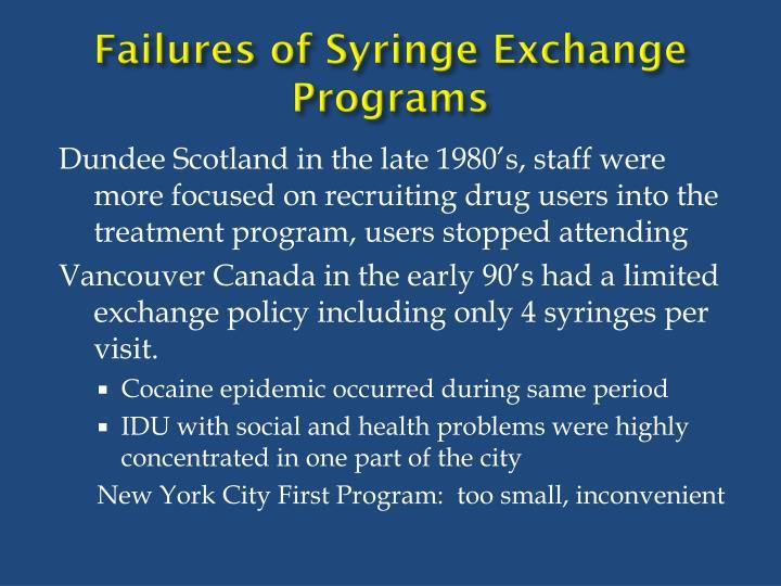 Failures of Syringe Exchange Programs