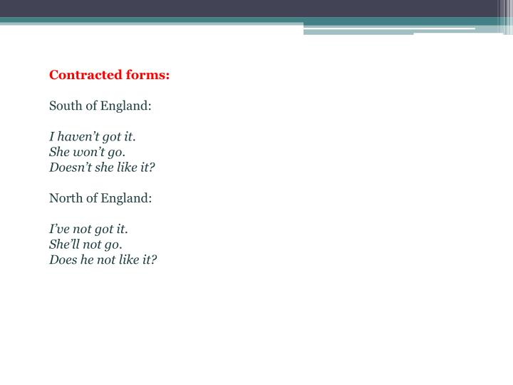 Contracted forms: