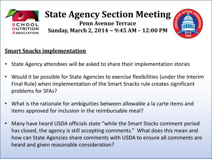 State agency section meeting penn avenue terrace sunday march 2 2014 9 45 am 12 00 pm