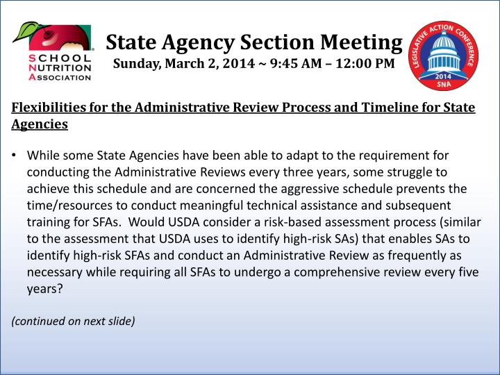 Flexibilities for the Administrative Review Process and Timeline for State Agencies