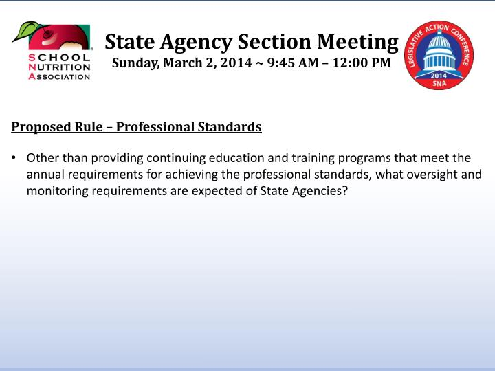 State Agency Section Meeting