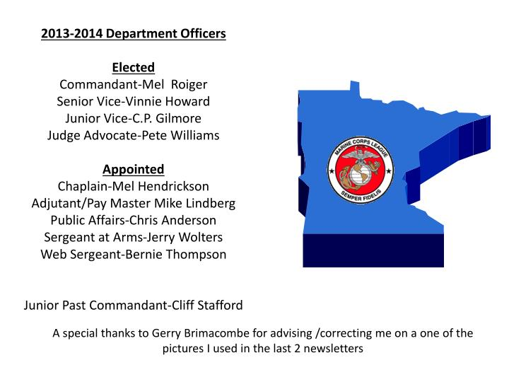 2013-2014 Department Officers