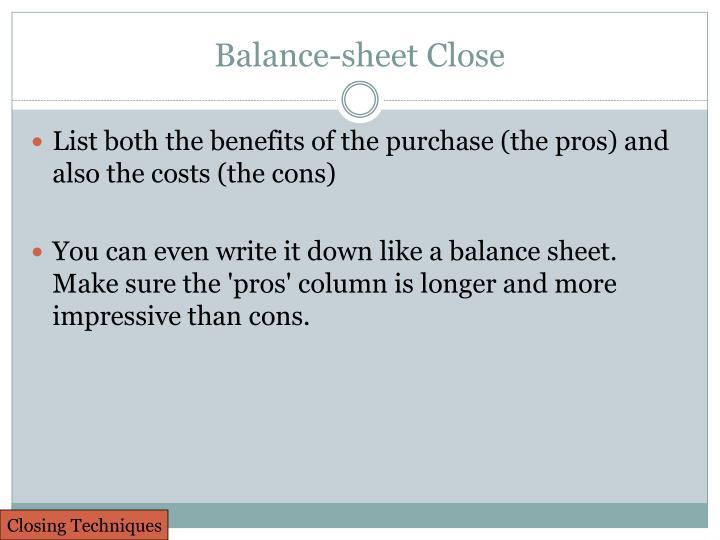 Balance-sheet Close