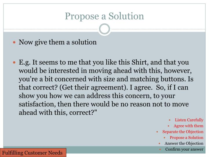 Propose a Solution