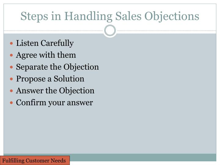 Steps in Handling Sales Objections