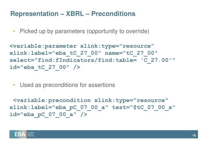 Representation – XBRL – Preconditions