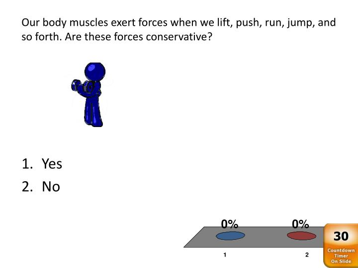 Our body muscles exert forces when we lift, push, run, jump, and so forth. Are these forces conservative?