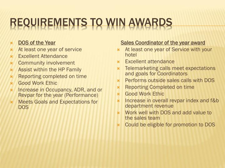 Requirements to Win Awards