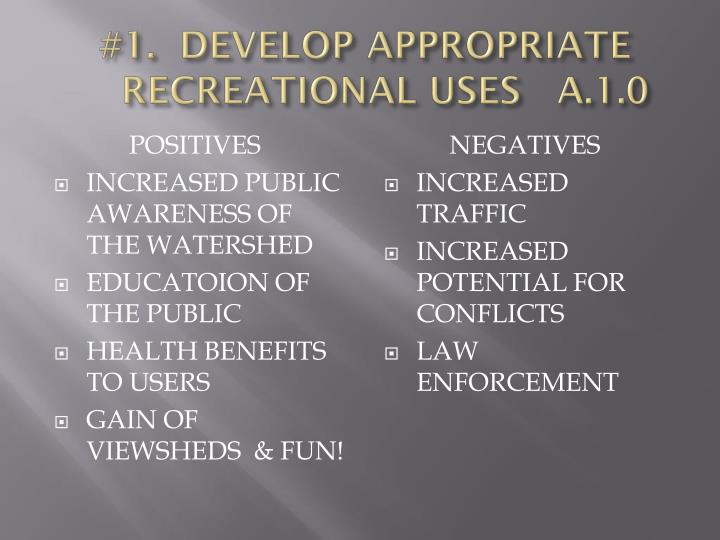 #1.  DEVELOP APPROPRIATE RECREATIONAL USES   A.1.0
