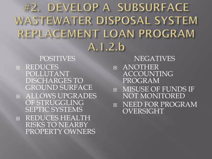 #2.  DEVELOP A  SUBSURFACE WASTEWATER DISPOSAL SYSTEM REPLACEMENT LOAN PROGRAM A.1.2.b