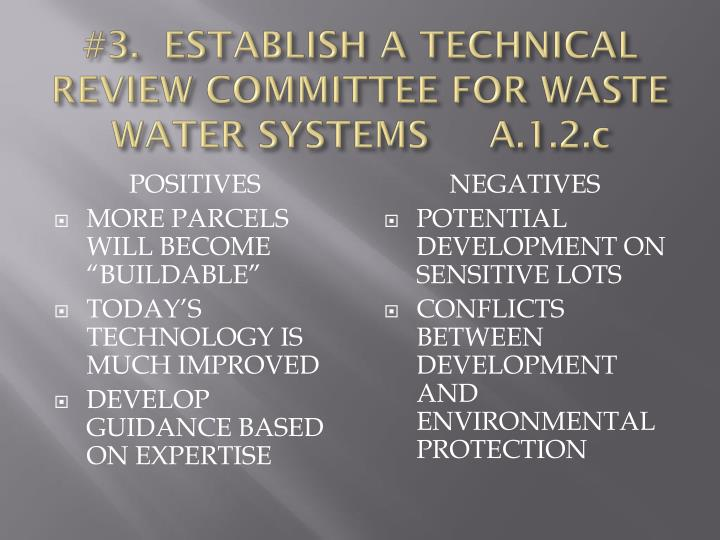 #3.  ESTABLISH A TECHNICAL REVIEW COMMITTEE FOR WASTE WATER SYSTEMS     A.1.2.c